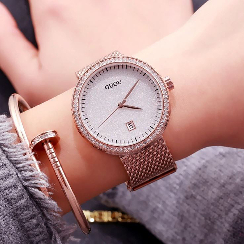 GUOU Fashion Ladies Wrist Watches Women Watches Luxury Diamond Watch Rose Gold Bracelet Watchband Clock saat relogio feminino guou official brand diamond wrist watches fashion pendant women luxury rose gold watch full steel clock relogio feminino gifts