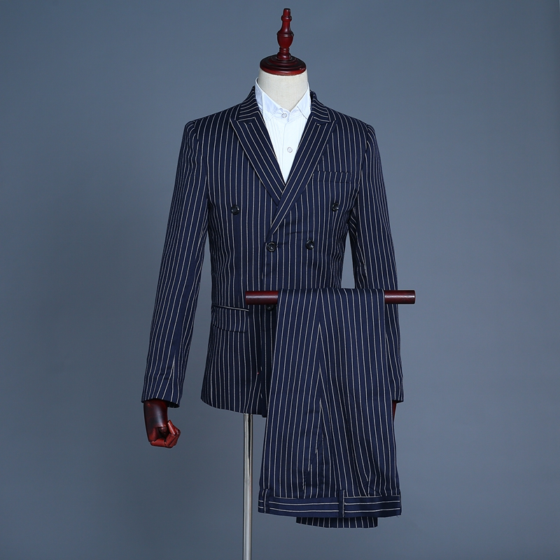 2018 Mens Dark Blue Striped Suits Groom Groomsmen Formal Dress costumes Host Dj Singer Stage Coat ! Suit Vest Pant 3 piece