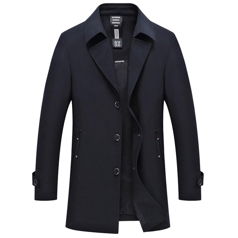 New 2019 spring autumn thin smart casual trench coat men solid color single breasted coat outerwear plus size