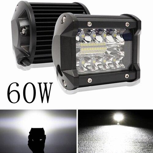 60W Triple Row LED Light Bar 4 Spot Flood Combo Beam Driving Lights Off Road Lighting