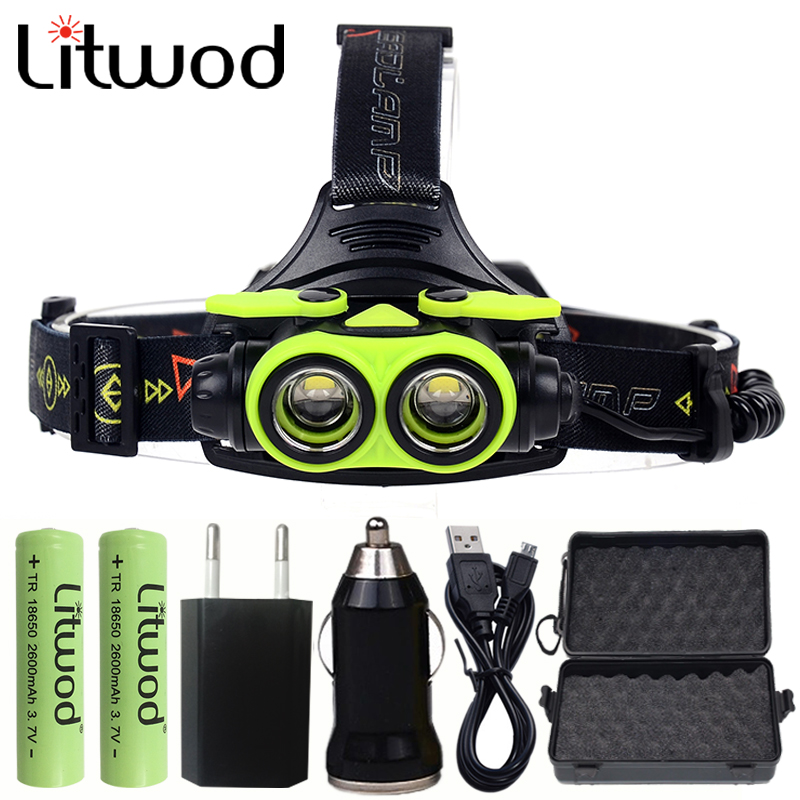 Litwod Z207305A 8000LM LED Headlamp XM-L2 4 Modes Rechargeable Headlight Head Lamp Spotlight Head light boruit b17 led headlamp 10000lm 3 led xm l2 rechargeable headlamp fishing 4 modes camping head lamp cycling headlight flashlight