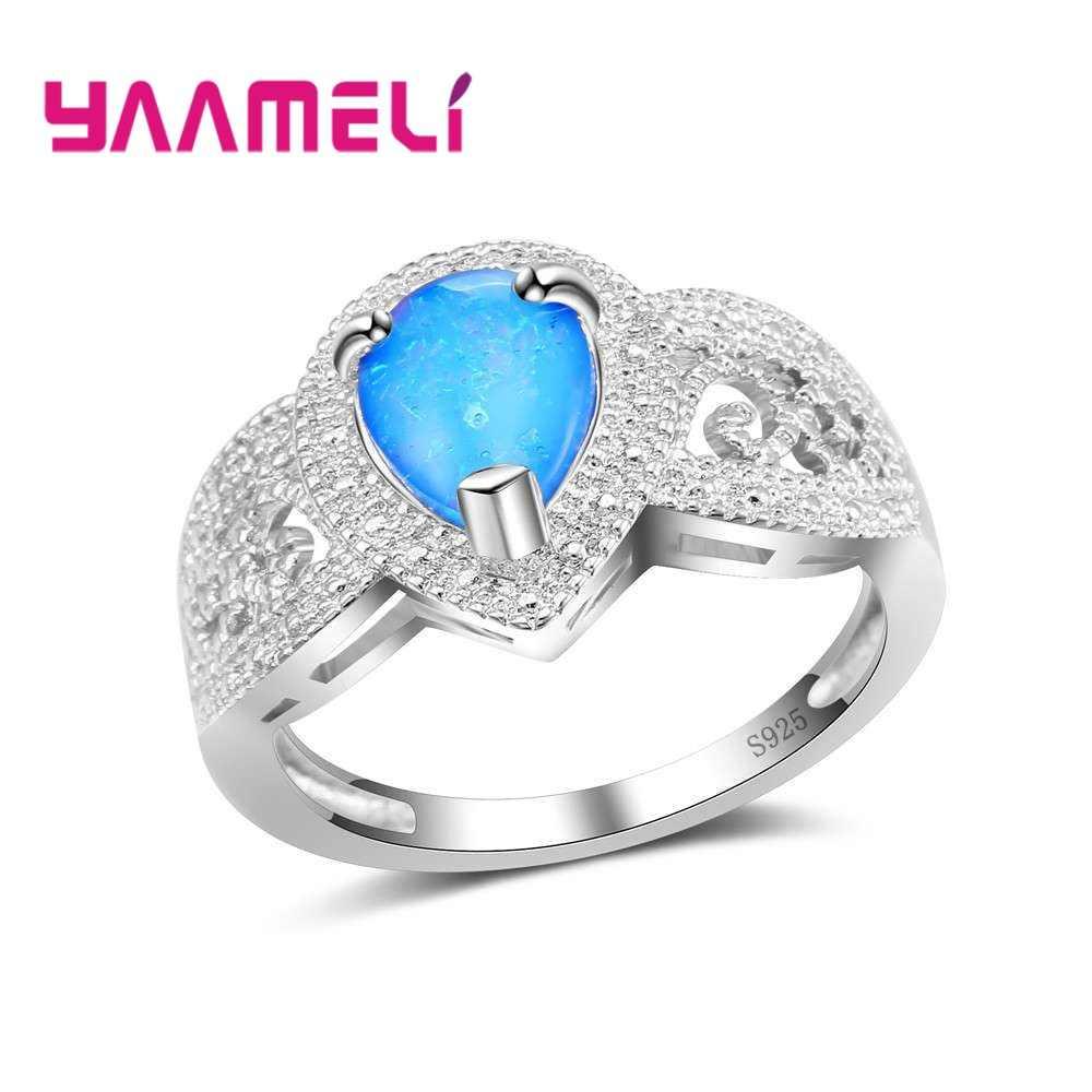 Big ส่วนลดโปรโมชั่น 925 แหวนเงิน silver Blue Water Drop Shape เครื่องประดับโอปอลสำหรับผู้หญิงผู้ชายของขวัญคริสตัล