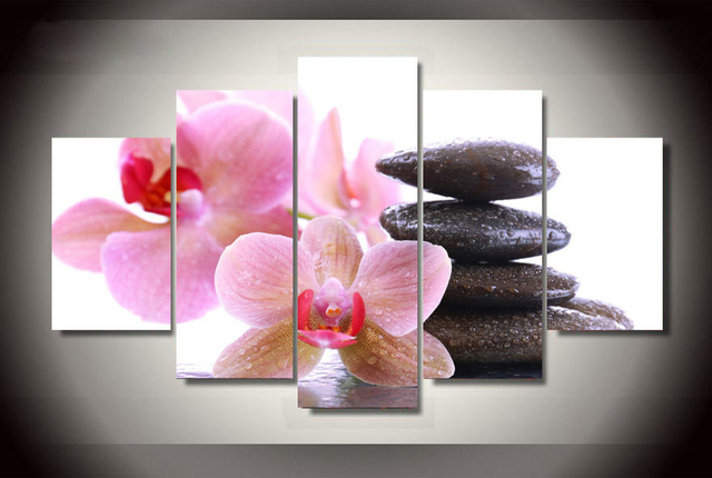 Pink Orchid Painting On Canvas Room Decor Vintage Wall Pictures For ...