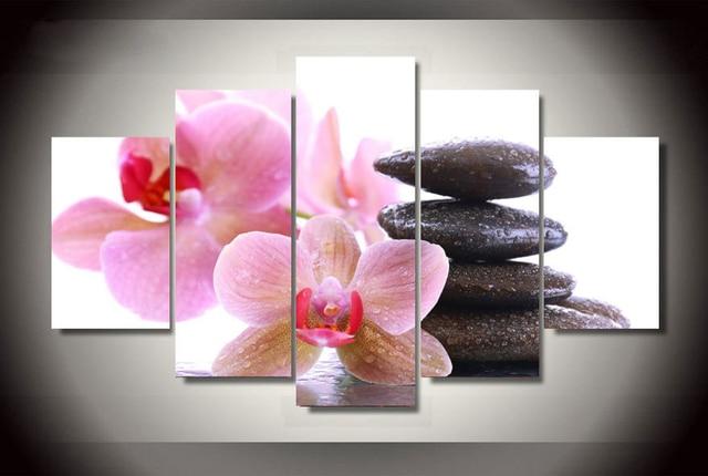 Roze orchidee schilderen op canvas kamer decor vintage muur pictures