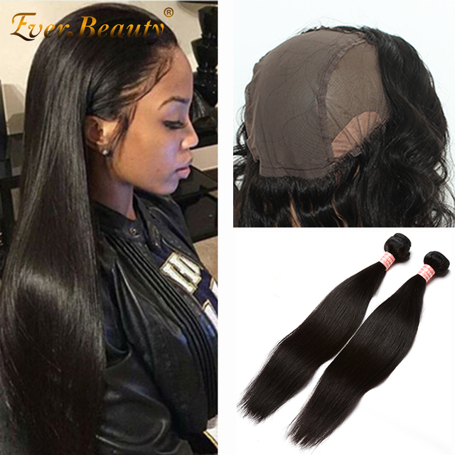7A Peruvian Straight Virgin Hair With Closure 360 Lace Frontal With Bundle Bleached Knots Baby Hair 360 Frontal With Wig Cap