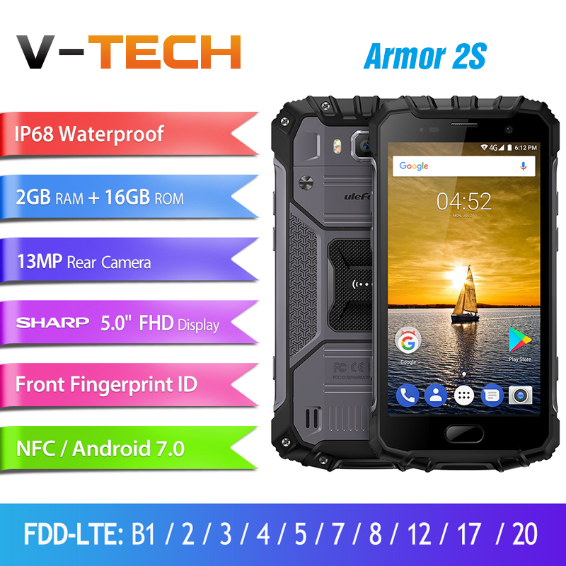 Ulefone Armor 2S Waterproof IP68 Mobile Phone 5.0 FHD MTK6737T Quad Core Android 7.0 2GB+16GB 4G Global Version Rugged Phone