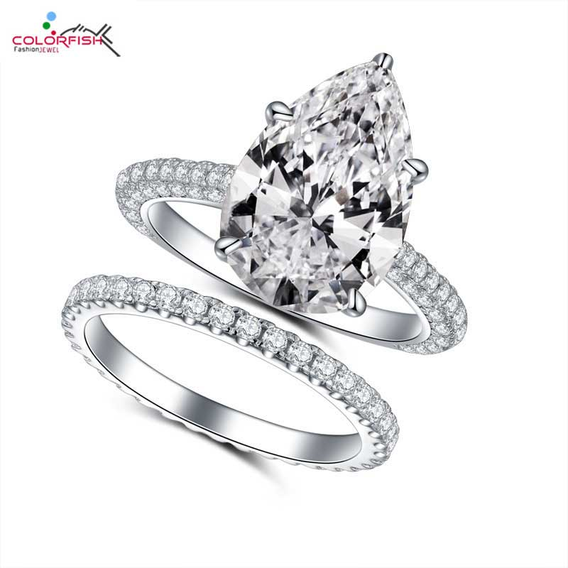 COLORFISH 5ct Pear Cut Engagement Rings Set Luxury Jewelry For Women 925 Sterling Silver Bridal Ring