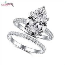 COLORFISH 5ct набор обручальных колец с грушей, роскошные ювелирные изделия для женщин, свадебное кольцо из стерлингового серебра 925 пробы, соответствующие 2 мм, браслет вечности