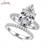 COLORFISH 5ct Pear Cut Engagement Rings Set Luxury Jewelry For Women 925 Sterling Silver Bridal Ring Matching 2mm Eternity band
