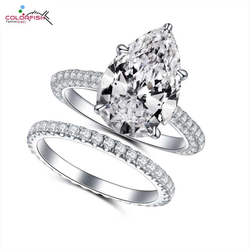 COLORFISH 5ct bague de fiançailles coupe poire ensemble bijoux de luxe pour femmes 925 bague de mariée en argent Sterling correspondant à la bande d'éternité 2mm