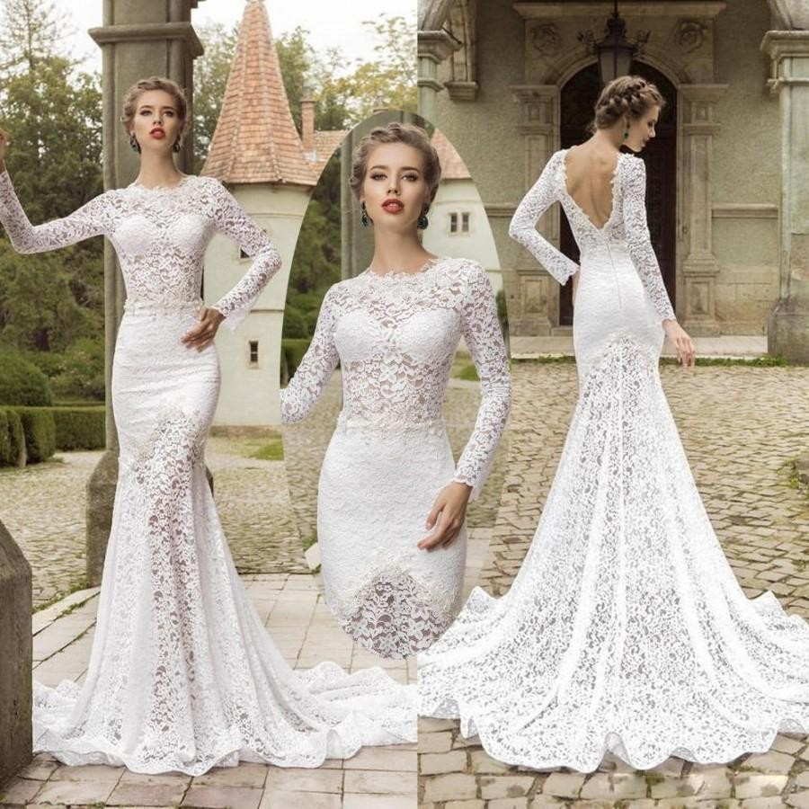 Elegant boho backless wedding dress 2016 long sleeve o for Lace sleeve backless wedding dress