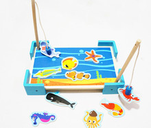 New wooden toy  kitten double pole magnetic fishing children educational play toys blocks baby gift free shipping