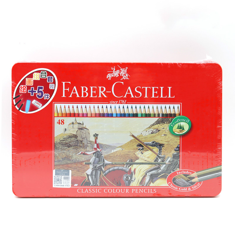 ФОТО Germany FABER-CASTELL 48 classic oily color pencil set red iron box