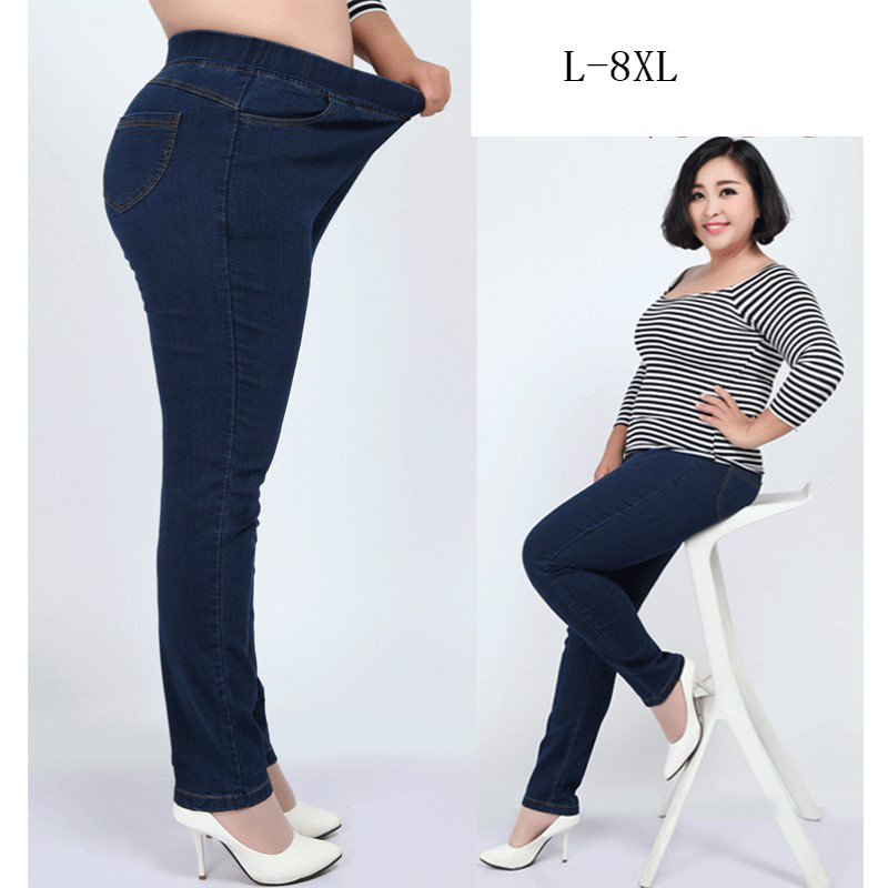 Plus Size 8XL 7XL L Elastic High Waist Femme   Jeans   Pencil Pants Spring Casual   Jeans   Women High Stretch Trousers Denim Pants