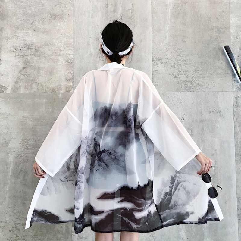 Áo Khoác Cardigan Kimono Nữ Áo Và Áo Phong Cách Nhật Bản Dạo Phố Nữ Nữ Áo Mùa Hè 2019 Dài Áo Nữ Đen AA4762