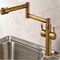 Brass Antique Faucet 360 Degree Rotation Stretch and Folding Neck Hot and Cold Mixer Taps