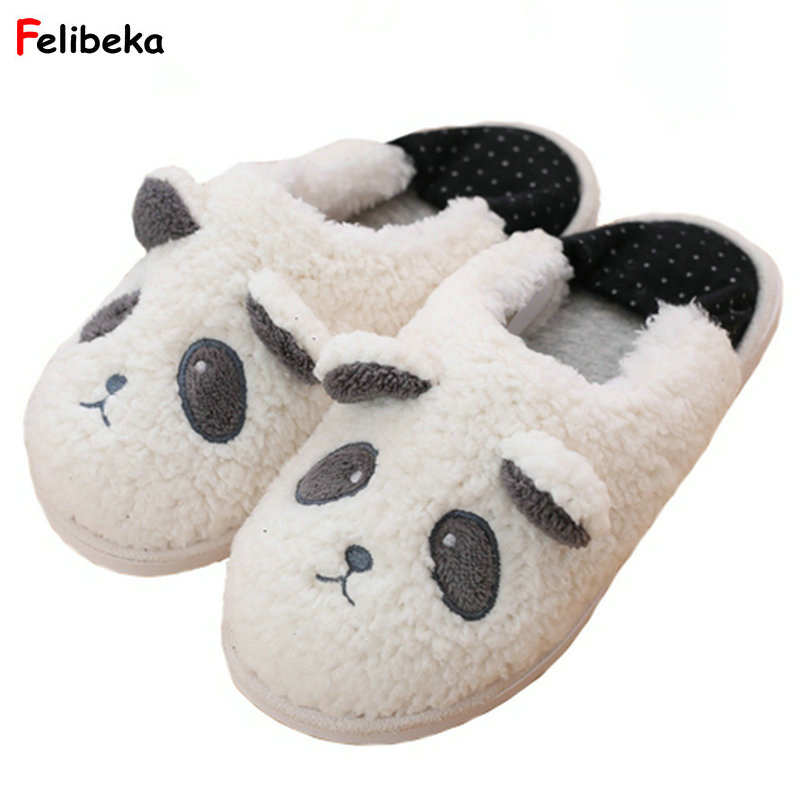 Cute Panda Animal Cartoon Pattern Warm Women Home Flats Comfortable Indoor House Women Slippers Shoes Pasoataques cute pompons women slippers home indoor women house shoes summer ladies slides pasoataques brand