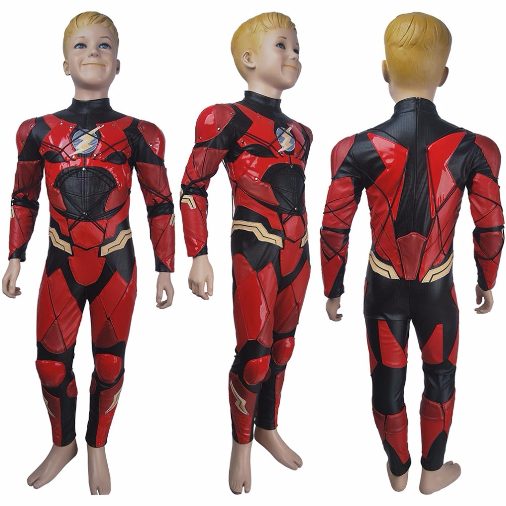 Kids boys The Flash Barry Allen cosplay halloween costume suit Justice League 2017 superhero Flash suit outfit xmas gift toys