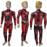 Muchachos de los cabritos El Flash Barry Allen cosplay traje de halloween traje de Justice League 2017 superhéroe Flash traje traje de navidad juguetes de regalo