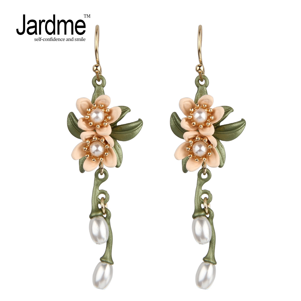 Indian Jewelry Pearl Drop Earrings for Women Ethnic Two Flowers and Pearls Vintage Leaf Earrings Women's Wedding Accessories a suit of vintage rhinestone leaf necklace and earrings for women page 3