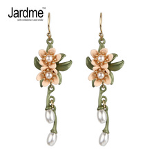 Indian Jewelry Pearl Drop Earrings for Women Ethnic Two Flowers and Pearls Vintage Leaf Earrings Women's Wedding Accessories