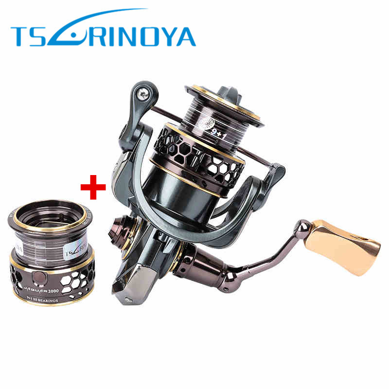 TSURINOYA JAGUAR 2000/3000 Spinning Fishing Reel 5.2:1/10BB Double Spool Saltwater Spinning Reel Moulinet Pesca Carrete De Pesca tsurinoya jaguar spinning fishing reel 1000 2000 3000 double metal spool carp wheel fishing tackle equipment 10bb 5 2 1