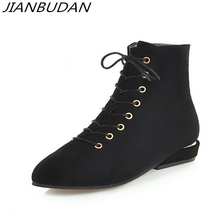 JIANBUDAN  Casual autumn Suede womens boots Fashion side zipper Ankle Pointed Toe Flat heel Womens shoes Black 34-43