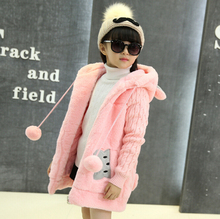 girls sweater coat autumn Winter Children's clothing kids jacket coats thick cute jacket children outerwear Hooded Jacket HB1156