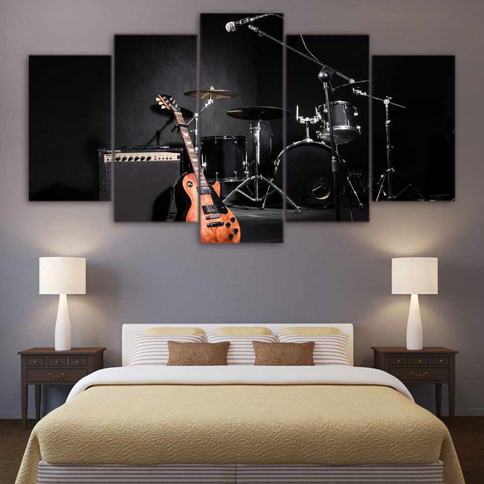 Music Guitar Drum Instruments 5 Piece Canvas Wall Art
