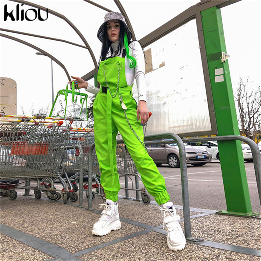 Kliou New Overalls Women Pants Full Length With Metal Chains 2019 Fashion Street Pockets Button Zipper On Side Trousers Outfit