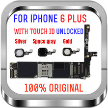 Unlock Motherboard for iphone 6 plus 16GB 64GB 128GB IOS logic board original mother board without / with touch ID for iphone 6P(China)
