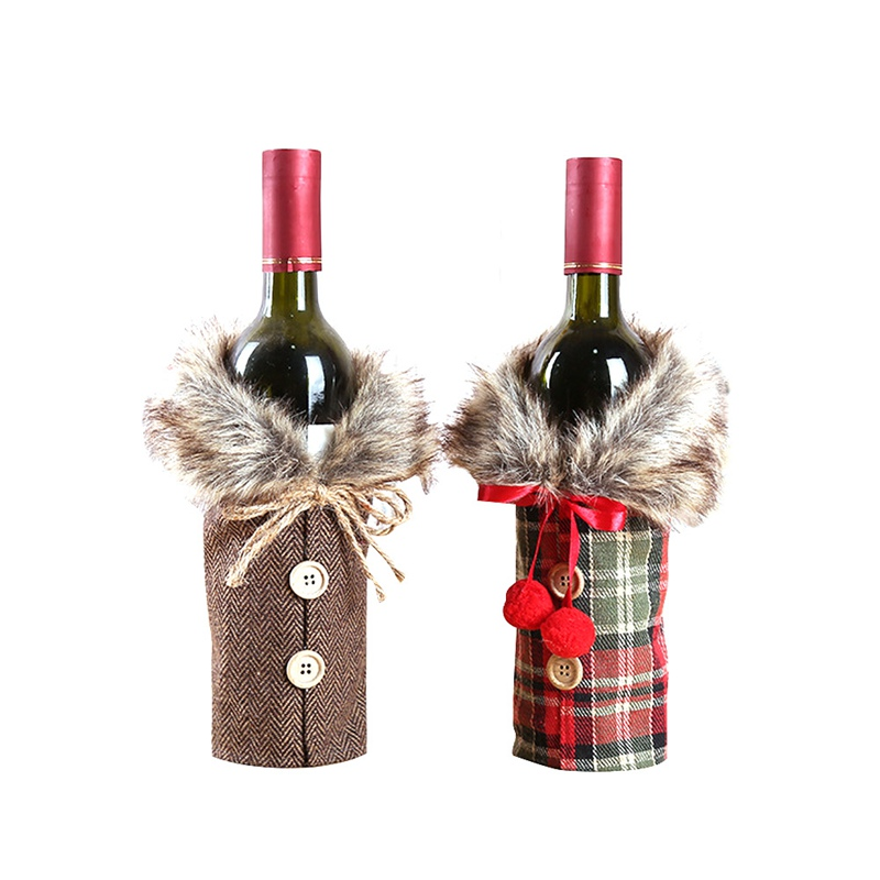 Hoomall Red Wine Bottle Covers Bags Bottle Cap Clothes With Hats Dinner Party Table Decorations for Home New Year Gift Navidad