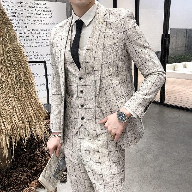HO 2020 Men Three-piece Suit Grid Professional Cultivate One's Morality Suit Best Man Groom Suit