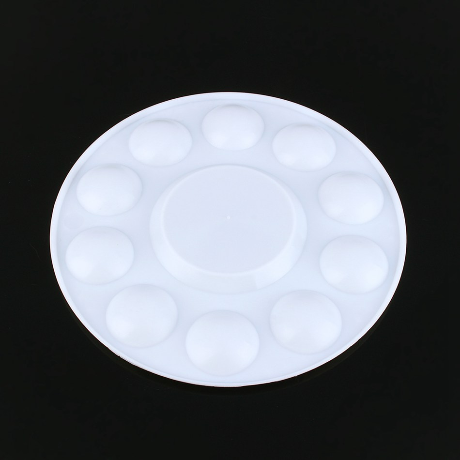 Professional 10 Well Round Artist Watercolor Paint Mixing Palette Tray White Color paint palette color mixing tray drawing utensil