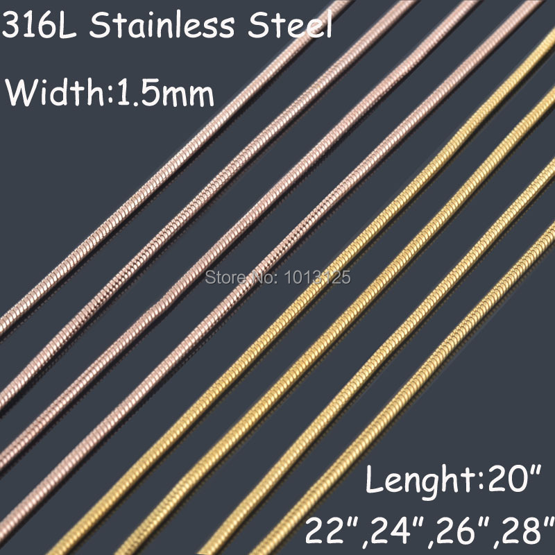 1.5mm wide 316L stainless steel Gold&Rose gold&Silver 3 Color snake chain necklaces men Vintage jewelry wholesale 12 pcs/lot