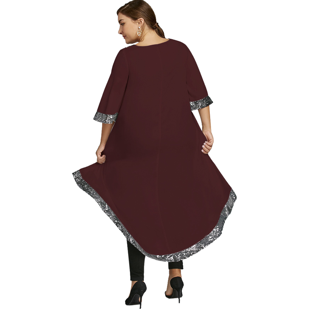 2c4dfcdedd AZULINA Plus Size Sequined Trim Dip Hem Dress Women Casual T-Shirt Dress  New Fashion Boat Neck 3/4 Sleeves Solid Vestidos Robe