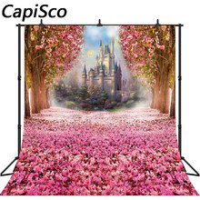 Capisco Photography Backdrop Rainbow Fairy tale Castle Pink Flowers baby shower kids Princess birthday party Photo Background(China)