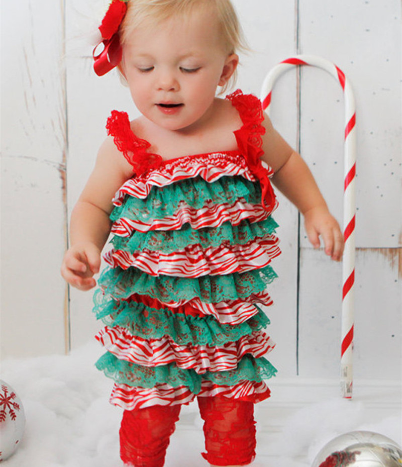 baby girl christmas lace rompersnewborn baby first christmas outfitxmas jumpsuit baby clothes