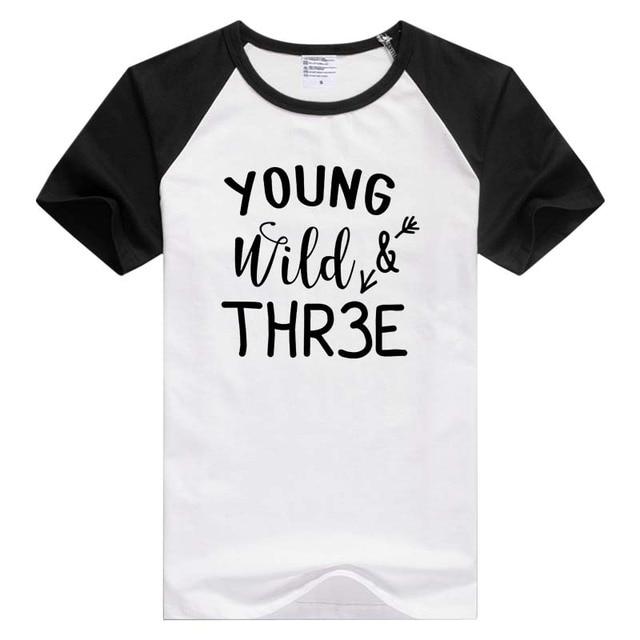 c4e1214c5 Phrase Young wild & three, kids children 3rd third birthday short sleeve  casual men T-shirt Novelty tee funny design GA218
