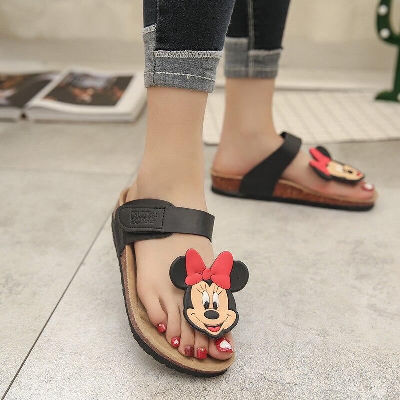 2017 New Style Cork Summer Shoes Women'S Flat With Sandals Female Slippers Mickey Cartoon Casual Wear Non-Slip Beach Flip Flops 2016 summer new boys and girls shoes korean sports beach sandals wear non slip