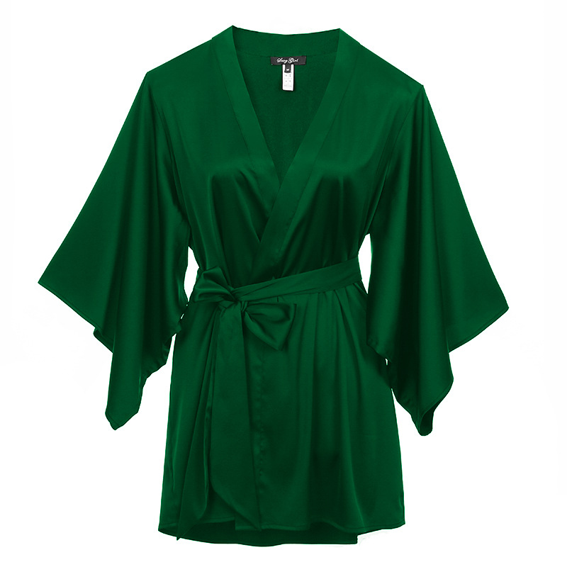 96c91fd997ba Elegant Solid Green Women Robe Dress Summer Lounge Nightgown Sleepwear Lady  Stain Pajamas Casual Home Clothes