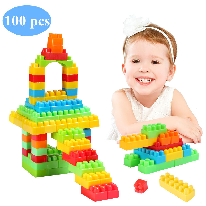 100 Pcs Colorful Plastic Building Blocks Diy Creative