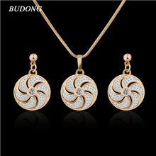 BUDONG Christmas Gift Engagement Jewelry Sets for Women Crystal Zircon Round Gold-Color Pendant Necklace Earrings XUT026