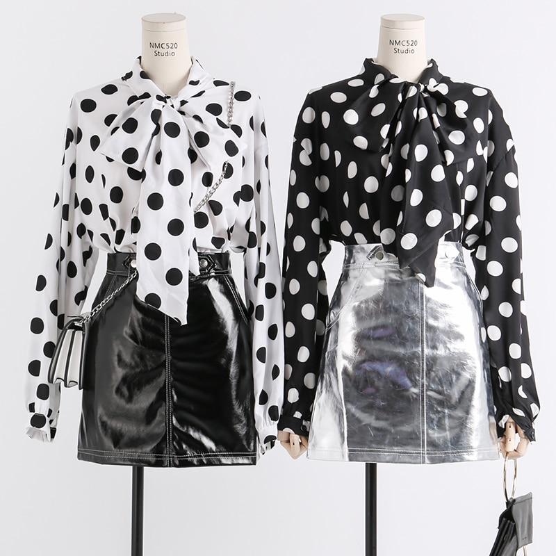 New ladies chiffon black /& White Polka Dot Top// Blouse