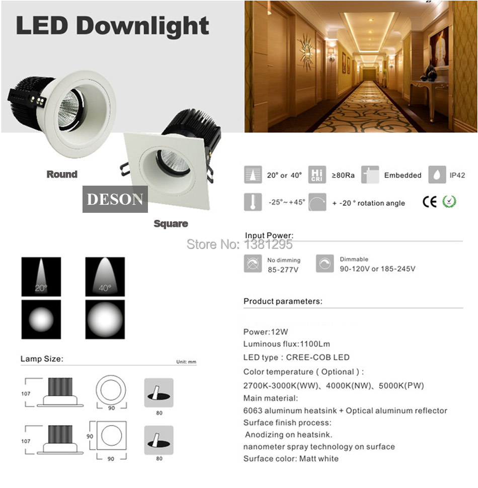 Dhl Round Square Adjule Trimless Led Recessed Light Ceiling Down Lamp Bulb Dimmable 12w Cree Cob Ledspot Home Lighting In Lights From