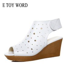 E TOY WORD platform Sandals Leather Summer Wedges fish mouth hollow out flat sandals  High Heels Sandals 7 CM Women Shoes 15 cm glass slipper super stilettos roman shoes soft face hollow out sandals fish mouth shoes taking pictures