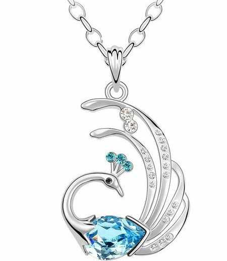 JS N080 индийские любимые ожерелье из перьев павлина из белого золота Цвет 60 + 5 см в длину Цепочки и ожерелья Прямая доставка искусственные драгоценности оптовая продажа