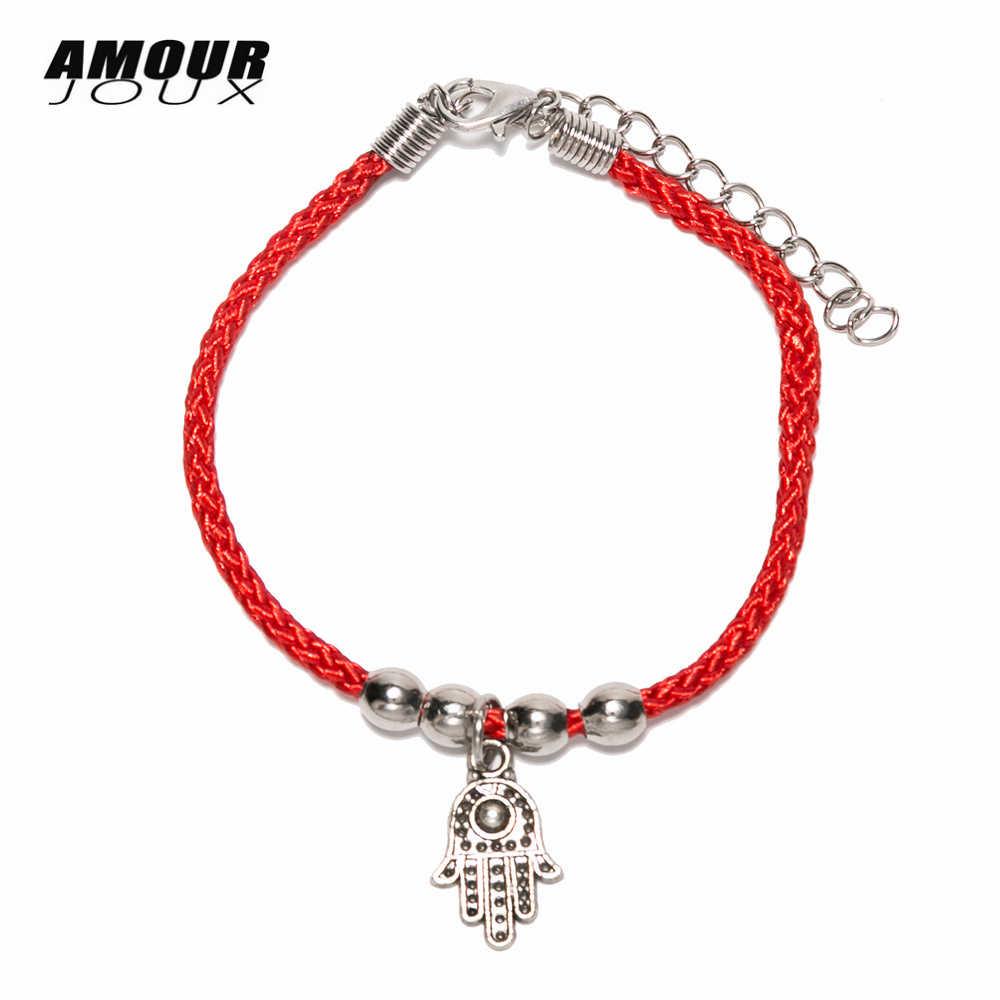 LINDAJOUX chanceux fil rouge amulette en forme de main perles chaîne chaîne chaîne bracelets pour femme avec Bracelet de corde d'extension