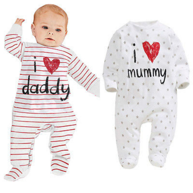 I love daddy baby clothes long sleeve I love mommy newborn baby girl boy winter Clothing new born baby ropa next baby rompers baby clothing summer infant newborn baby romper short sleeve girl boys jumpsuit new born baby clothes