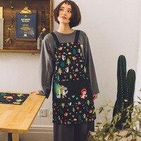 Japanese tecido de algodão dos desenhos animados roupa de trabalho metade do corpo colete avental avental de cozinha em casa